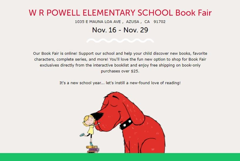 Virtual Book Fair: Nov.16- Nov.29