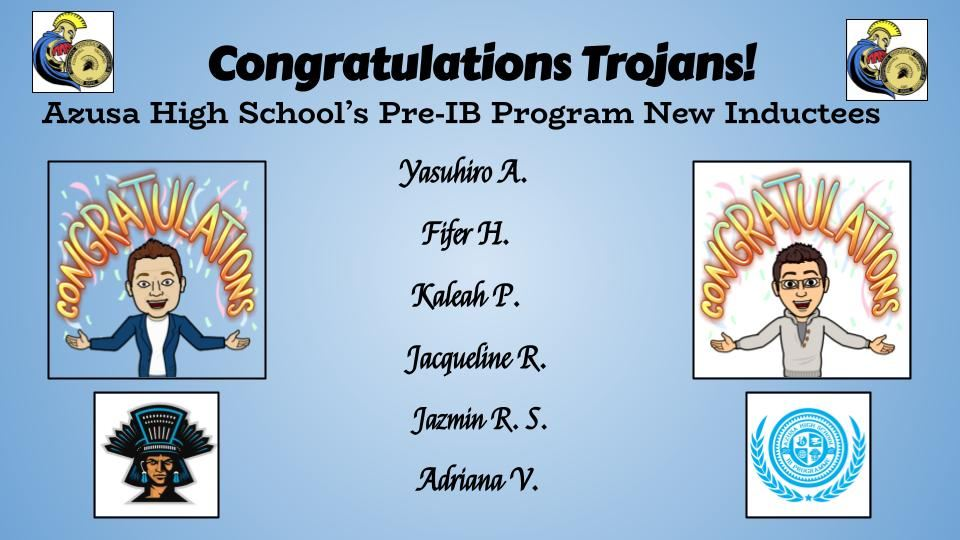 FMS Proudly presents students accepted to Azusa High School's Pre-IB Program!